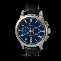 L.Leroy Watch Marine Automatic Chronograph 18K White Gold Date
