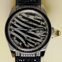 Rolex Datejust 18K Solid White Gold Diamonds Black Zebra