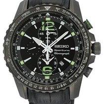 Seiko Mens Sportura Alarm Chronograph - Black Dial with Green...