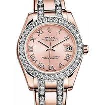 Rolex Pearlmaster 34 81285 Pink Roman Diamond Bezel Rose Gold...