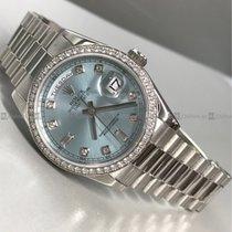 Rolex - Day Date 118346 White Gold, Blue Dial,Pt+Diamond Bezel