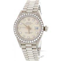 Rolex Ladies Rolex Datejust 69136 Platinum & Factory...