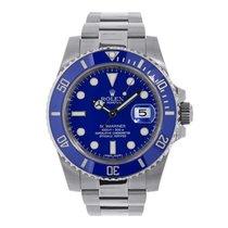 Rolex SUBMARINER 18K White Gold Watch Blue Ceramic 2017