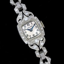 Hamilton Vintage Platinum 1ct Diamond Lady Watch American Ma
