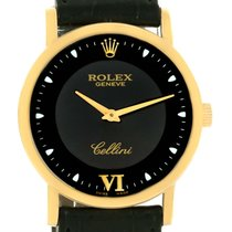 Rolex Cellini Classic 18k Yellow Gold Black Dial Mechanical...