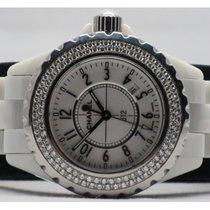Chanel J12 H0967 Ceramic White Dial Diamond Bezel