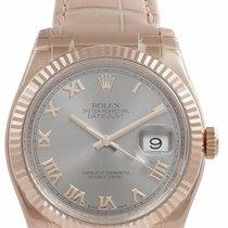 Rolex Datejust, Ref. 116135 - grau römisch ZB/Lederband