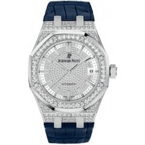 Audemars Piguet Royal Oak Diamond Pave Dial Blue Leather Strap...