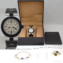 Bulgari Mens  Aluminum Stainless Black Rubber Quartz Watch Box...