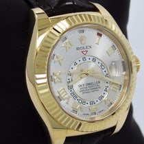 Rolex Sky-dweller Perpetual 326138 18k Yellow Gold Leather...