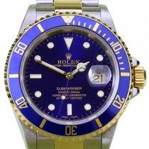 Rolex Submariner 16613 Blue 18k Yellow Gold Stainless Steel...