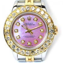 Rolex Ladies Rolex Custom Pink MOP Diamond Dial 3 CT Bezel...