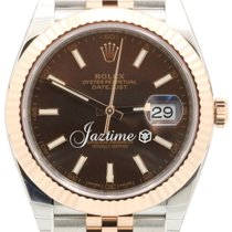 Rolex Datejust 41 126331 Chocolate Index Rose Gold Stainless...