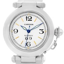 Cartier Pasha C Midsize Big Date White Dial Steel Watch W31044m7