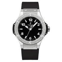 Hublot Big Bang 38mm Ladies Black Dial Diamond Black Rubber...