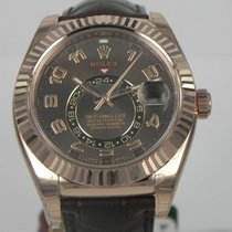Rolex SKY-DWELLER ROSE GOLD LEATHER CHOCOLATE DIAL
