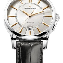 Maurice Lacroix Date Steel Case, White Dial, Gold Hands and Index