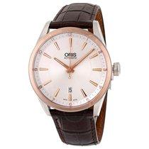 Oris Artix Date Automatic Silver Dial Brown Leather Men's...