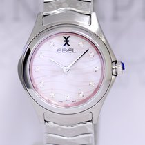 Ebel Wave Lady MOP rosé Diamond Dial Steel NEU B+P 30mm