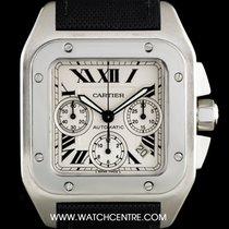Cartier Silver Dial Large Santos 100 Chrono B&P W20090X8