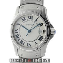 Cartier Santos Collection Santos Round Date Stainless Steel...