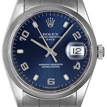 Rolex Date Men's Stainless Steel Watch Blue Arabic Dial 15200