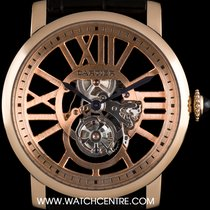 Cartier 18k R/G Flying Tourbillon Skeleton Rotonde Gents W1580046