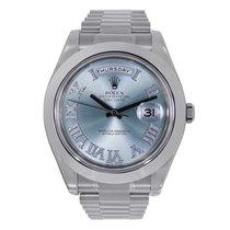 Rolex DAY-DATE II 41mm Platinum Watch Ice Blue Diamond Roman