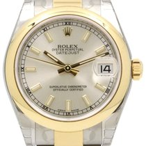 Rolex Datejust Ladies Midsize 178243 Silver Index Yellow Gold...