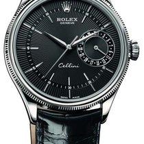 Rolex Cellini Date 39mm 18k White Gold 50519 Black
