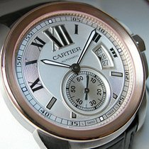 Cartier Ss/18k Pink Gold Silver Brown Strap W7100039