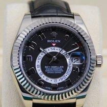 Rolex Sky-Dweller 18kt WG Black Arabic Dial Alligator Strap-32...