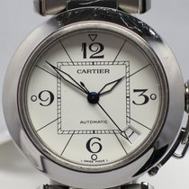 Cartier Pasha 2324 Steel Arabic White Dial Blue Steel Hands 35mm