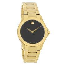 Movado Masino Mens Black Dial Gold Tone Swiss Quartz Watch...