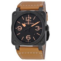 Bell & Ross Heritage Ceramic Black Dial Tan Leather...
