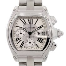Cartier 2618 Roadster XL Chronograph Silver Roman Dial Watch