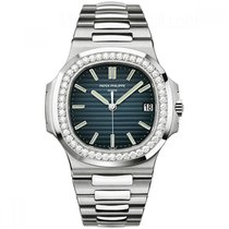 Patek Philippe Nautilus 40mm White Gold Watch Diamond Bezel
