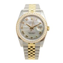 Rolex Datejust Gold Steel Diamond Silver Automatic 116243NR