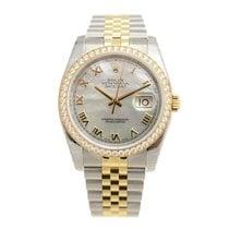 ロレックス (Rolex) Datejust Gold Steel Diamond Silver Automatic...