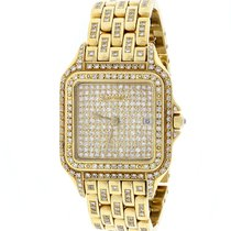 Cartier Demoiselle Medium Gold Ladies w/Diamond Dial/Bezel/Bra...