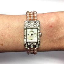 Gruen Ss Ladies Watch W/ Natural Pink Pearl Bracelet & Mop...