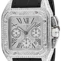 Cartier Santos 100 XL Chronograph Custom Diamond Set Watch...