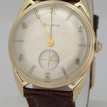 Bulova Mens Vintage 10k Gold Plate Bulova Round Fancy Lug...