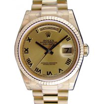 Rolex Day-Date 36 118238-GLDRFP Champagne Roman Fluted Yellow...