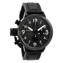 U-Boat Black Dial Black Leather and Rubber Strap Men's Watch
