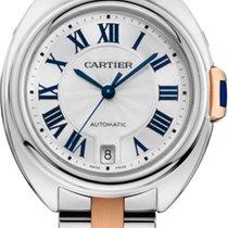 Cartier CLÉ DE CARTIER 35mm Index silber Stahl/Rotgold