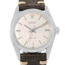 Rolex Precision Vintage Stainless Steel Leather Strap Watch 6426