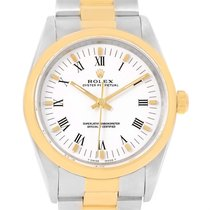 Rolex No Date Mens Stainless Steel Yellow Gold White Dial...