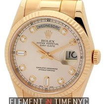 Rolex Day-Date President 18k Rose Gold Pink Diamond Dial Circa...