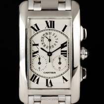 Cartier 18k White Gold Tank Americaine Chronoflex B&P...